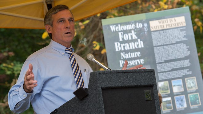 Governor John Carney gives his remarks before the ground breaking for the new Fork Branch Trail in Dover.
