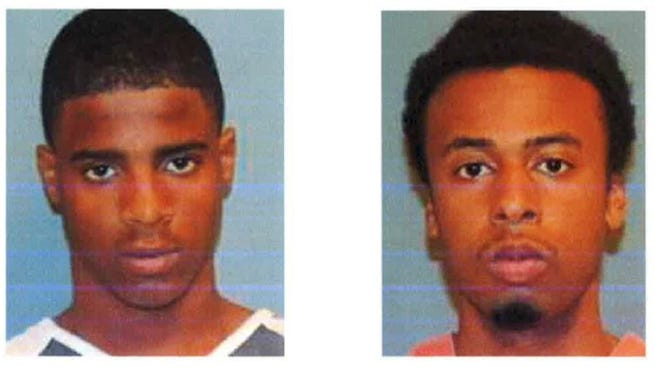 Randall Bridges, left, and Damion Robertson are being sought by Hattiesburg police for an incident that occurred Saturday that left on man with a gunshot wound.