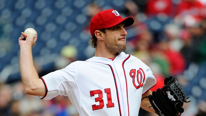 Max  Scherzer missed his previously scheduled start after jamming his right thumb.