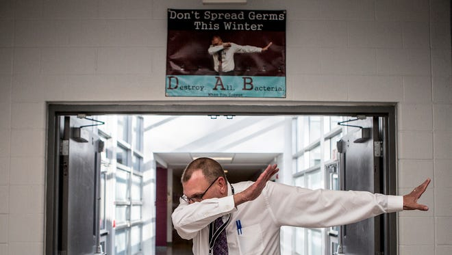 Newark High School principal Tom Bowman recently went viral on the internet after posing for a photo while dabbing. The image was featured on a poster in the high school  about destroying bacteria. A student photographed the image, and the rest is history. The image made the rounds on social media and was featured in Buzz Feed at the end of the year.