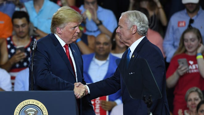 President Donald Trump and South Carolina governor Henry McMaster during the McMaster-Trump Rally in West Columbia Monday, June 25, 2018.