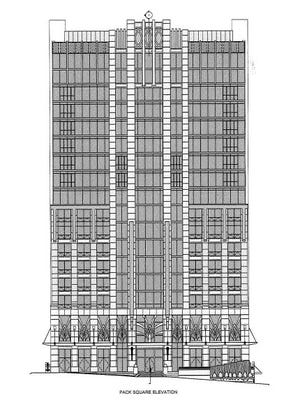 A rendering by architect Reese Vanderbilt of the renovations to the BB&T building.