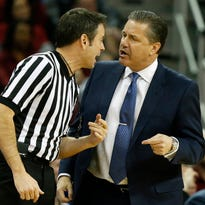 Feb 13, 2016; Columbia, SC, USA; Kentucky Wildcats head coach John Calipari argues a call during the game between the South Carolina Gamecocks and the Kentucky Wildcats at Colonial Life Arena. Mandatory Credit: Jim Dedmon-USA TODAY Sports