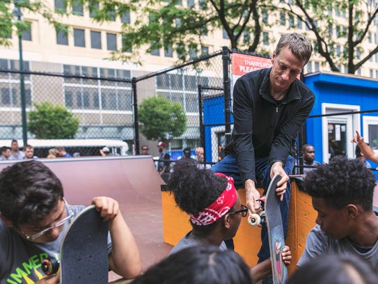 Tony Hawk at the new downtown Detroit Wayfinding skate