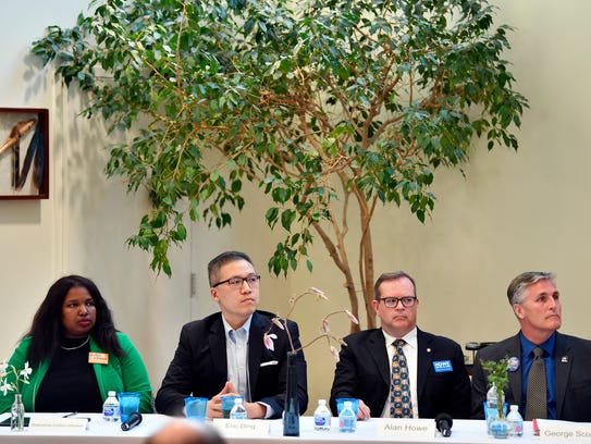 From left, Shavonnia Corbin-Johnson, Eric Ding, Alan Howe and George Scott participate in a candidate forum on April 18, 2018, in York.