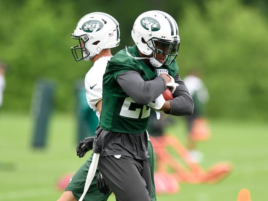 New York Jets cornerback Trumaine Johnson (22) runs drills during the first day of OTA's in Florham Park, NJ on Tuesday, May 22, 2018.