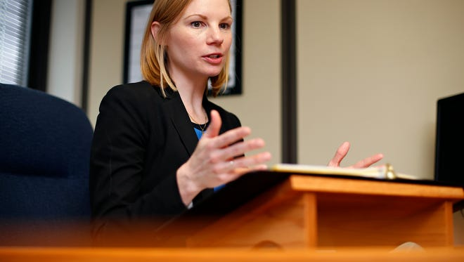 Missouri State Auditor Nicole Galloway talks about a recent audit of the Small Business Regulatory Fairness Board during a media availability in Springfield, Mo. on May 24, 2016.
