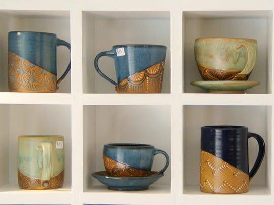 Cups and mugs by Trumansburg potter Hannah Graeper