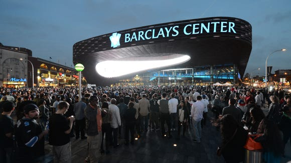 The crowd gathers outside the Barclays Center in Brooklyn before a Jay-Z concert in 2012.