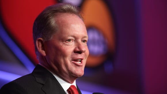U of L football head coach Bobby Petrino during the Kickoff Luncheon at the downtown Marriott on Thursday. Aug. 14, 2014