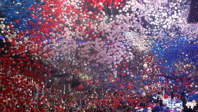 Balloons engulf the arena after Hillary Clinton spoke during the final session of the Democratic National Convention at the Wells Fargo Arena in Philadelphia July 28 2016.