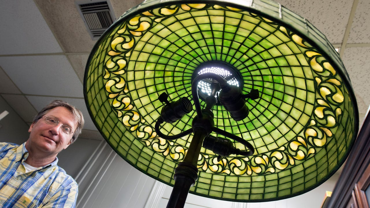 Gary Klinger with the signed Tiffany Studios Lamp shade