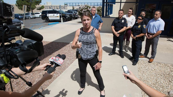 Lt. Joy Mickendrow speaks about the Las Cruces Police Departments lip sync challenge video Thursday July 26, 2018 outside the LCPD station on Picacho Avenue.