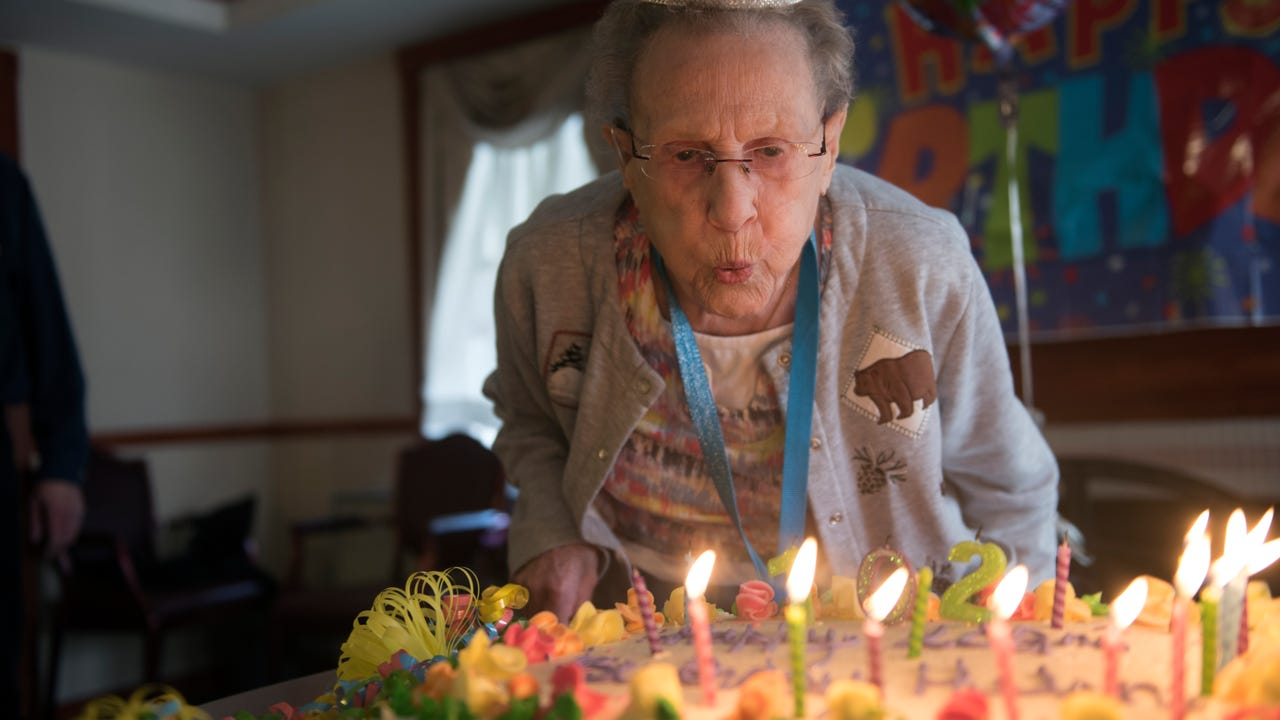 Helen Lawyer of The Shook Home was surprised as other residents and staff honored her on Tuesday, February 20, 2018. Lawyer celebrated her 102nd birthday with friends.