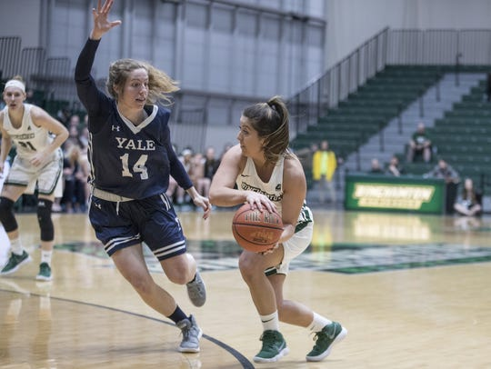 Binghamton University's Jasmine Sina looks to pass