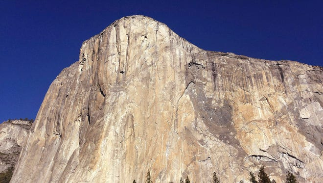 A 31-year-old climber, Alex Honnold, on June 3, 2017, became the first person to scale the 3,000-foot El Capitan in Yosemite National Park, Calif., shown in a 2015 file photo, without a rope or safety gear, according to National Geographic.