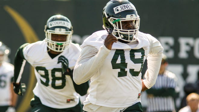 MSU LB, senior Shane Jones runs drills Monday, July 31, 2017, during MSU's first football practice.