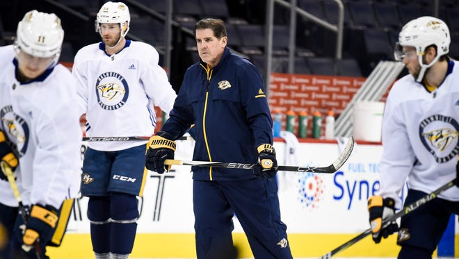 Nashville Predators coach Peter Laviolette skates during practice at Bell MTS Place in Winnipeg, Manitoba, Canada, Thursday, May 3, 2018.