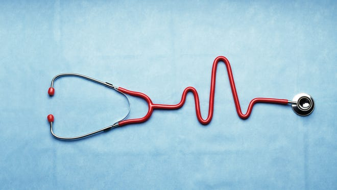Illustration of a stethoscope with tubing in shape of heartbeat wave on an electrocardiogram.