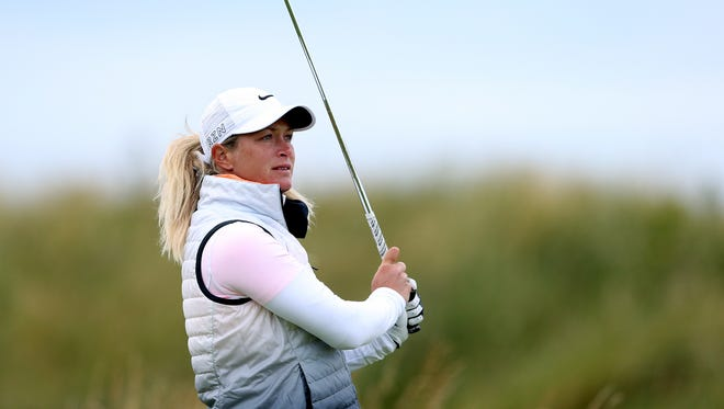 Suzann Pettersen of Norway tees off from the 6th during the second day of the Women's British Open.