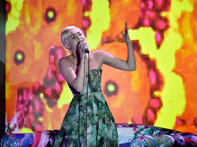 Miley Cyrus performs during the ceremony of the World Music Awards 2014 at Sporting Monte-Carlo on May 27, 2014, in Monte-Carlo, Monaco.