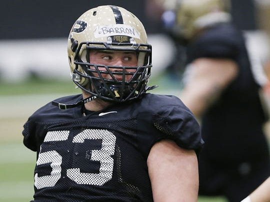 Center Kirk Barron during Purdue spring football practice. He went to Mishawaka Marian.