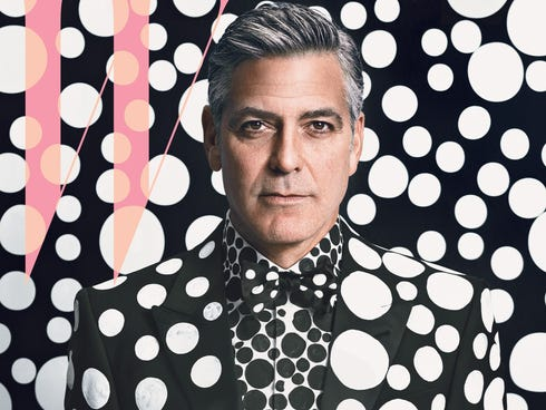 George Clooney is featured on 'W Magazine's' eighth annual Art Issue.  The cover, featuring George in a custom Armani suit with hand painted polkadots is by Yayoi Kusama.
