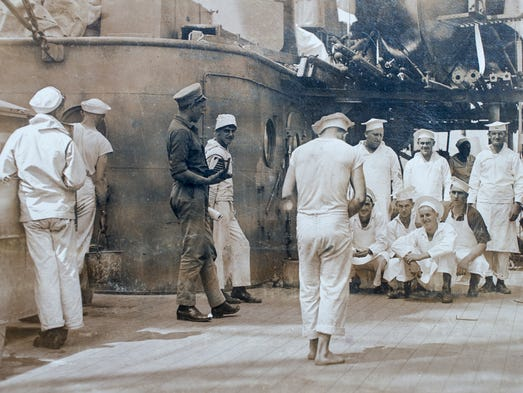 The crew of the USS Arizona have their picture made
