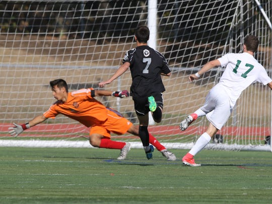 Andrew Furman of Ramapo scores his team's fourth goal