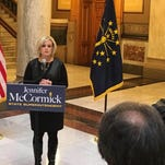 Superintendent of Yorktown Schools Jennifer McCormick announces Jan. 28 at the statehouse that she will run for state Superintendent of  Public Instruction.