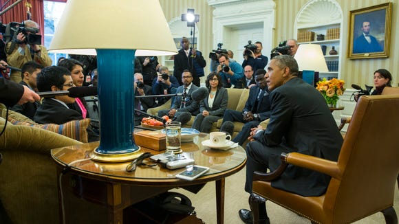 """President Obama meets with a group of """"Dreamers"""" in"""