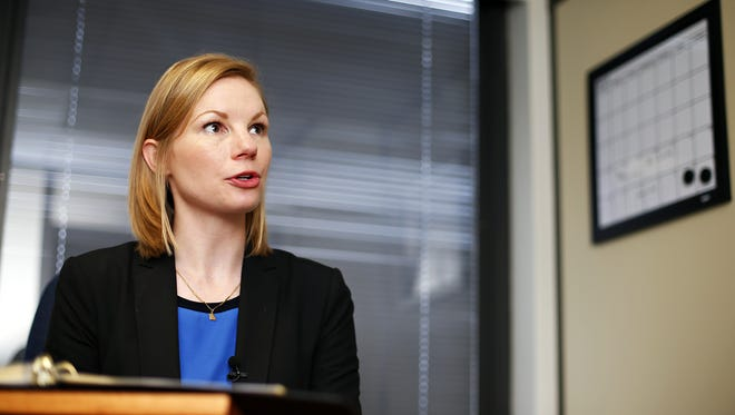 Missouri State Auditor Nicole Galloway speaks with the media during a visit to Springfield in May.