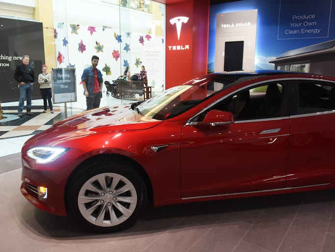 The Model S is displayed at the Tesla Gallery at the
