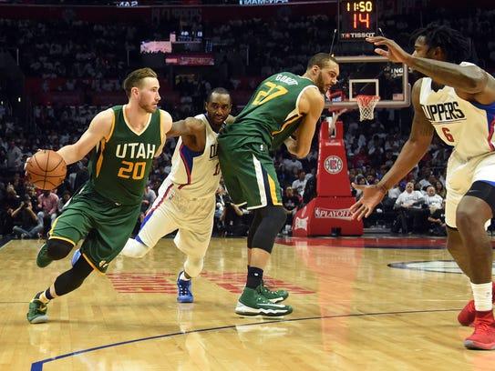 Utah Jazz forward Gordon Hayward moves the ball as