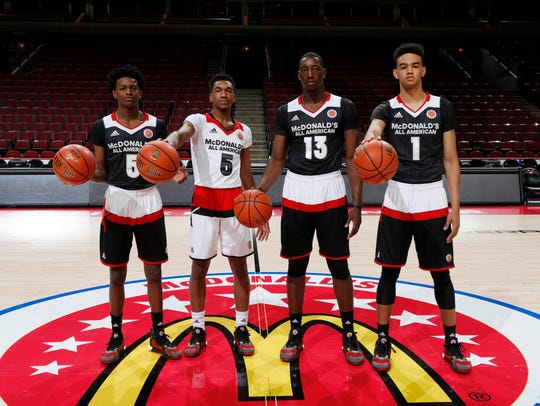From left to right McDonald's All-Americans De'Aaron