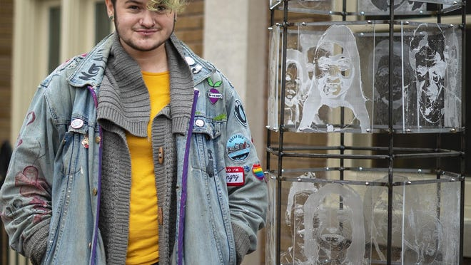 August-Lain Weickert created a 6-foot-tall sculpture with laser-engraved portraits of Rockford residents as the city's newest piece of public art. It's stationed outside the Rockford Area Arts Council, 713 E. State St., Rockford.