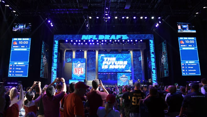 A general view of the draft theater during the first round the 2017 NFL Draft at the Philadelphia Museum of Art.