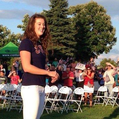 U.S. Olympic gold-medal winner Allison Schmitt revels