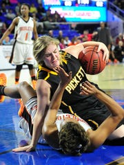 Pickett County's Courtney Pritchett  crashes to the floor with Middleton's Rachelle Parks.