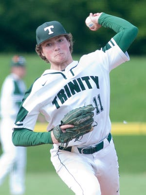 Trinity Shamrocks starting pitcher Brody Heil throws to home plate.19 May, 2016