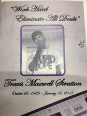 The funeral program for Travis Maxwell Stratton, Oct.