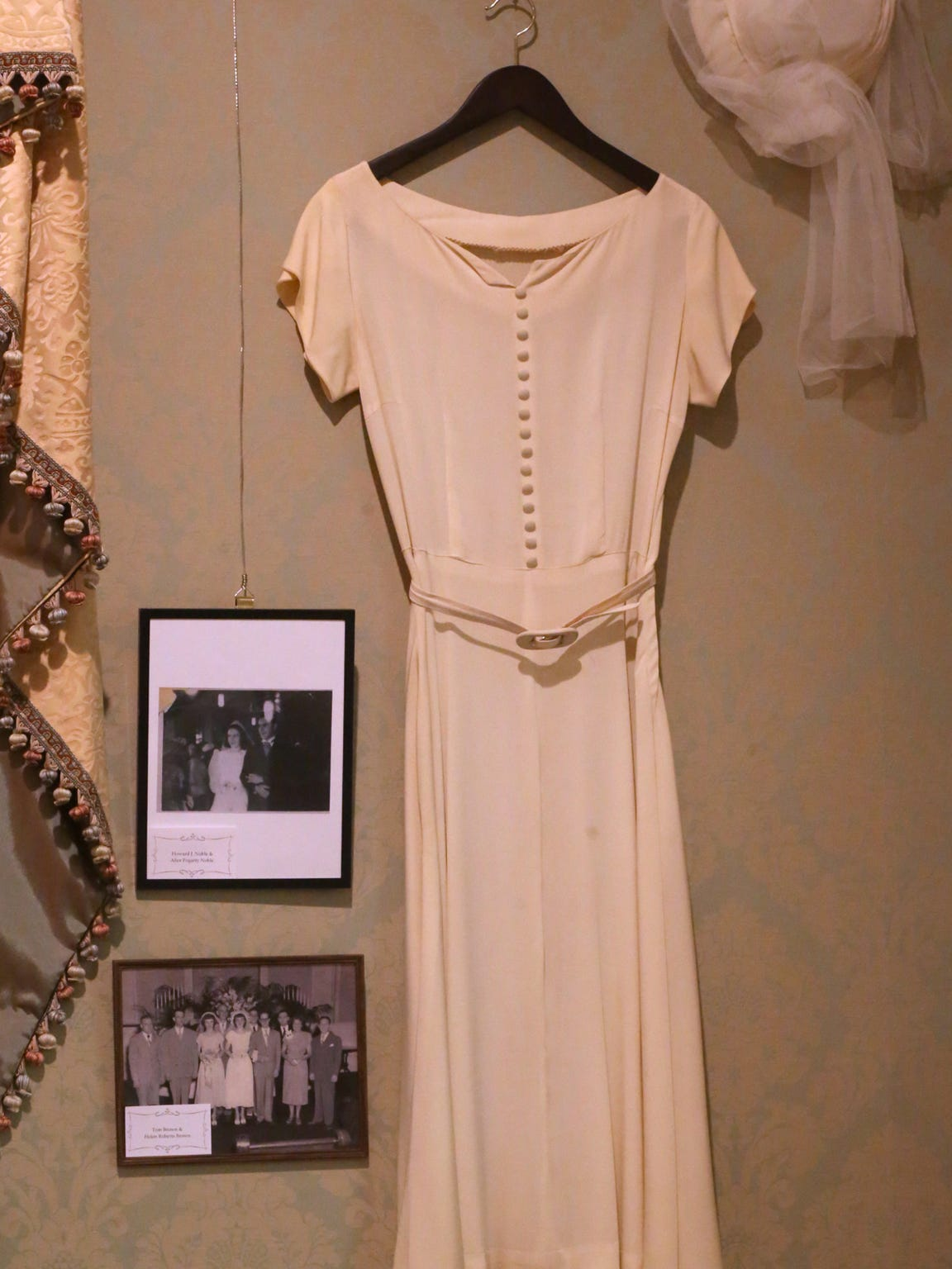 The wedding dress of the late Helen Roberts Brown is