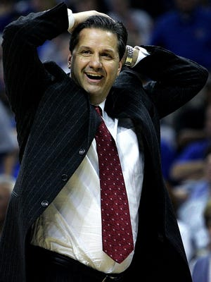 March 14, 2008 - Memphis' J head coach John Calipari smiles after an officials call during second hlaf action against Southern Miss.