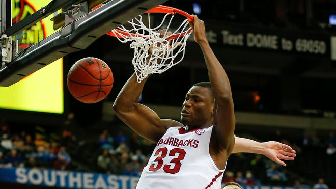 One of the main highlights Thursday in Arkansas' two-point SEC tournament loss to South Carolina was this dunk from center Moses Kingsley (33).