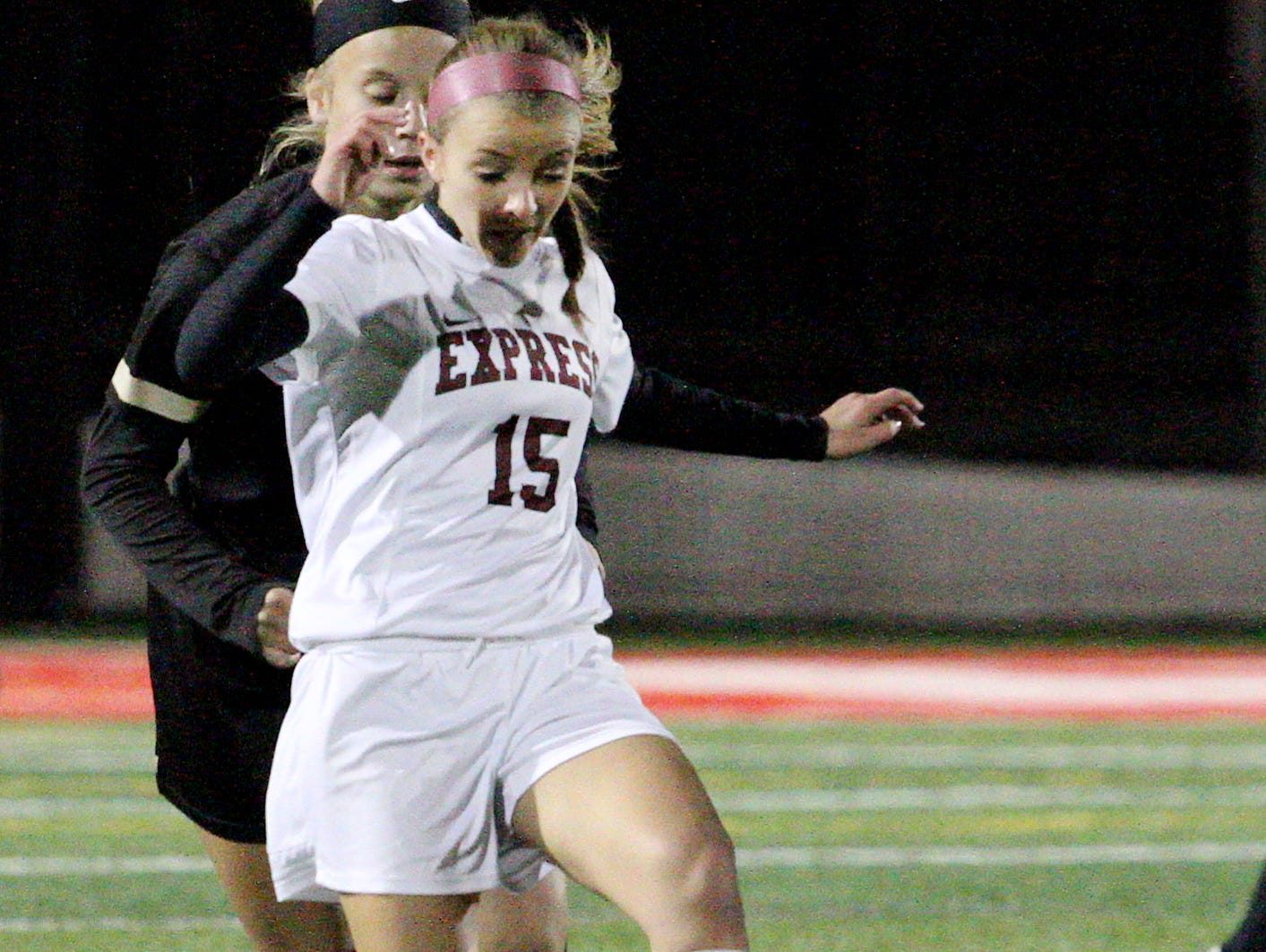 Elmira's Rose Ruland drives the soccer ball down the field Friday night at Waverly Memorial Stadium during the Section 4 finals.