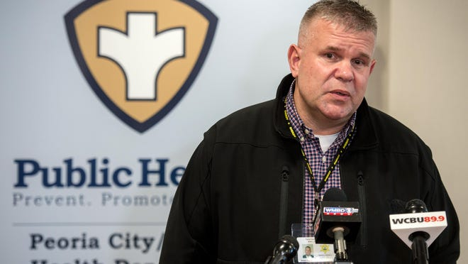Peoria County Sheriff Brian Asbell speaks during a briefing on coronavirus in March at the Peoria City/County Health Department in Peoria.