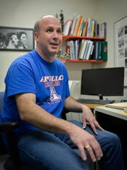 Guidance Counselor Rick Larson listens in his Apollo