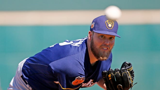 Milwaukee Brewers starting pitcher Jimmy Nelson struck out four batters.