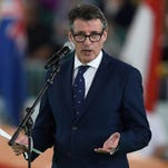IAAF President Sebastian Coe speaks during the opening ceremony of the IAAF World Indoor athletic championships in Portland on March 17, 2016.