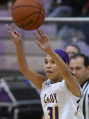 Kirtland Central freshman guard Tiajhae Nez shoots during Saturday's game against Valencia at Bronco Arena in Kirtland.